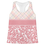 Modern Plaid & Floral Womens Racerback Tank Top (Personalized)
