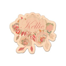 Modern Plaid & Floral Genuine Maple or Cherry Wood Sticker (Personalized)