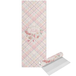 Modern Plaid & Floral Yoga Mat - Printed Front (Personalized)