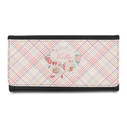 Modern Plaid & Floral Leatherette Ladies Wallet (Personalized)