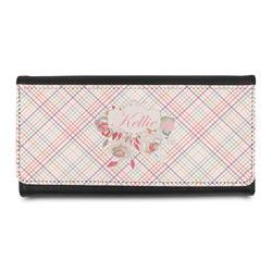 Modern Plaid & Floral Leatherette Ladies Wallet (Personalized)
