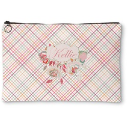 Modern Plaid & Floral Zipper Pouch (Personalized)