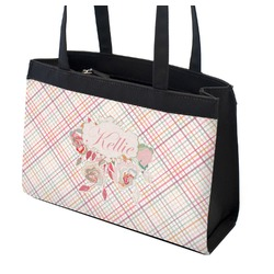 Modern Plaid & Floral Zippered Everyday Tote (Personalized)