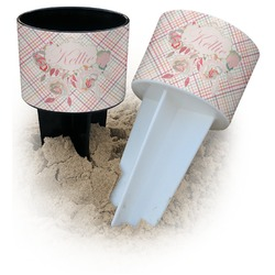 Modern Plaid & Floral Beach Spiker Drink Holder (Personalized)
