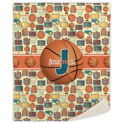Basketball Sherpa Throw Blanket (Personalized)