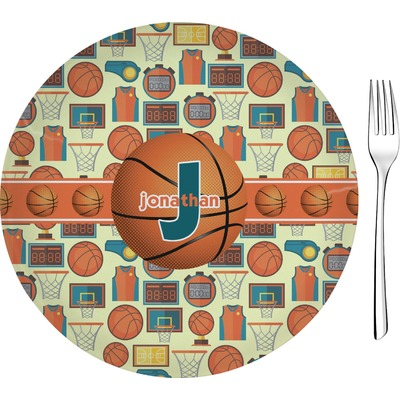 """Basketball 8"""" Glass Appetizer / Dessert Plates - Single or Set (Personalized)"""