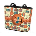 Basketball Bucket Tote w/ Genuine Leather Trim (Personalized)