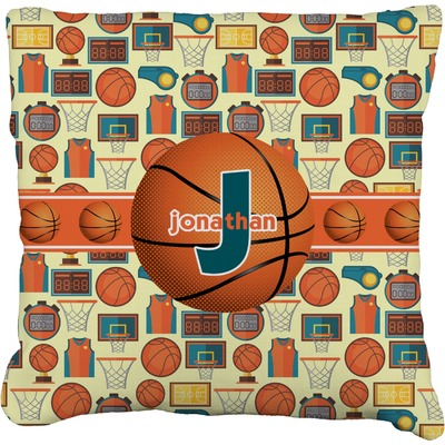 Basketball Faux-Linen Throw Pillow (Personalized)
