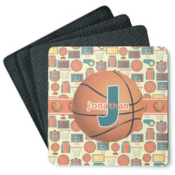 Basketball 4 Square Coasters - Rubber Backed (Personalized)