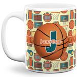 Basketball 11 Oz Coffee Mug - White (Personalized)