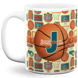 Basketball 11 Oz Coffee Mug - White (Personalized)