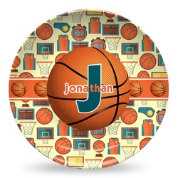 Basketball Microwave Safe Plastic Plate - Composite Polymer (Personalized)