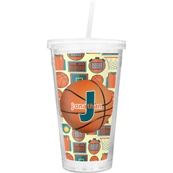 Basketball Double Wall Tumbler with Straw (Personalized)