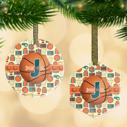 Basketball Flat Glass Ornament w/ Name or Text