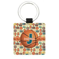 Basketball Genuine Leather Rectangular Keychain (Personalized)