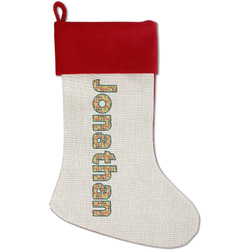 Basketball Red Linen Stocking (Personalized)