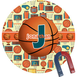 Basketball Round Fridge Magnet (Personalized)