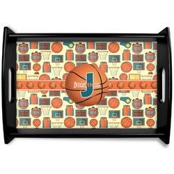 Basketball Black Wooden Tray - Small (Personalized)