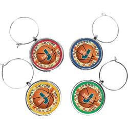 Basketball Wine Charms (Set of 4) (Personalized)