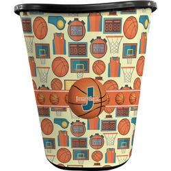 Basketball Waste Basket - Double Sided (Black) (Personalized)