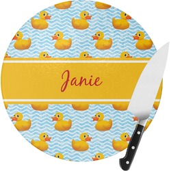 Rubber Duckie Round Glass Cutting Board - Small (Personalized)