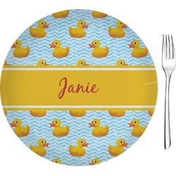 "Rubber Duckie Glass Appetizer / Dessert Plates 8"" - Single or Set (Personalized)"