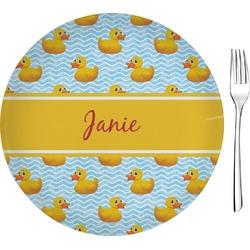 "Rubber Duckie Glass Appetizer / Dessert Plate 8"" (Personalized)"