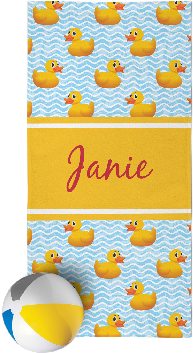 Rubber Duckie Beach Towel Personalized