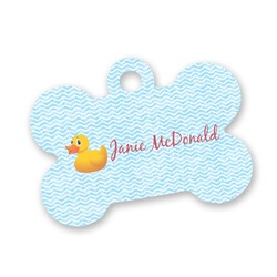 Rubber Duckie Bone Shaped Dog Tag (Personalized)