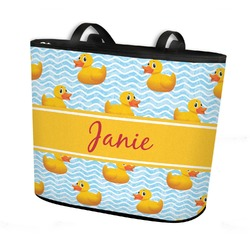 Rubber Duckie Bucket Tote w/ Genuine Leather Trim (Personalized)