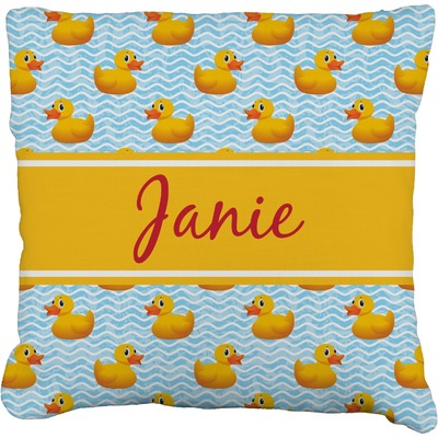 """Rubber Duckie Faux-Linen Throw Pillow 16"""" (Personalized)"""