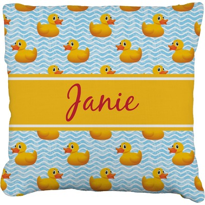 """Rubber Duckie Faux-Linen Throw Pillow 20"""" (Personalized)"""