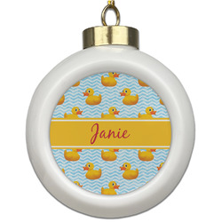 Rubber Duckie Ceramic Ball Ornament (Personalized)