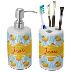 Rubber Duckie Ceramic Bathroom Accessories Set (Personalized)