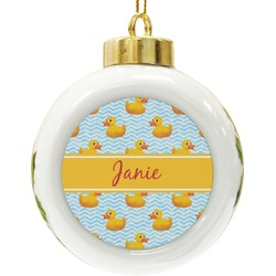 Rubber Duckie Ceramic Ball Ornament (Personalized)