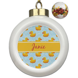 Rubber Duckie Ceramic Ball Ornaments - Poinsettia Garland (Personalized)