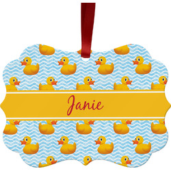 Rubber Duckie Metal Frame Ornament - Double Sided w/ Name or Text