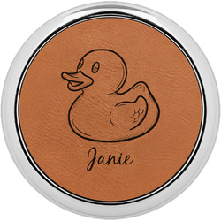Rubber Duckie Leatherette Round Coaster w/ Silver Edge - Single or Set (Personalized)