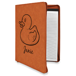 Rubber Duckie Leatherette Zipper Portfolio with Notepad (Personalized)