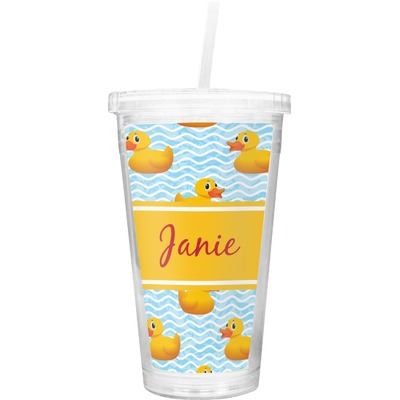 Rubber Duckie Double Wall Tumbler with Straw (Personalized)