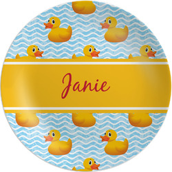 """Rubber Duckie Melamine Plate - 8"""" (Personalized)"""
