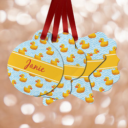 Rubber Duckie Metal Ornaments - Double Sided w/ Name or Text