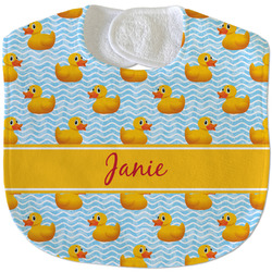Rubber Duckie Velour Baby Bib w/ Name or Text