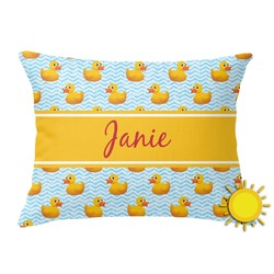 Rubber Duckie Outdoor Throw Pillow (Rectangular) (Personalized)