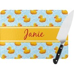 Rubber Duckie Rectangular Glass Cutting Board (Personalized)