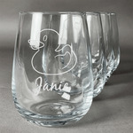 Rubber Duckie Stemless Wine Glasses (Set of 4) (Personalized)