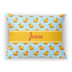 Rubber Duckie Rectangular Throw Pillow (Personalized)