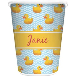 Rubber Duckie Waste Basket - Single Sided (White) (Personalized)