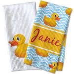 Rubber Duckie Waffle Weave Kitchen Towel (Personalized)