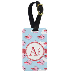 Flying Pigs Metal Luggage Tag w/ Name and Initial
